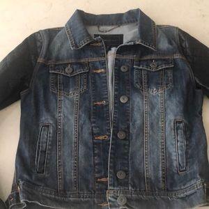 BCBG Maxazria denim and vegan leather jacket
